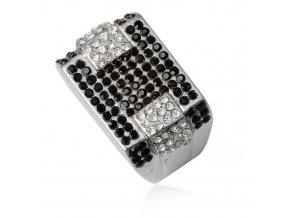 PR8167ZOC damsky ocelovy prsten cierno biely