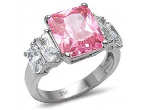PR1330ZOC ruzovy prsten z ocele so zirkonmi