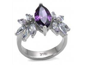 PR1332ZOC prstenz chirurgickej ocele fialove zirkony