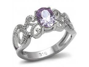 PR1335ZOC prsten z ocele fialovy zirkon