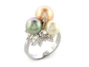PR0352PR prsten s perlami a zirkonmi