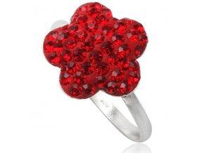 PR4418SWSS swarovski cerveny kvietok strieborny prsten