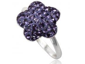 PR4421SWSSfialovy swarovski strieborny kvet prsten