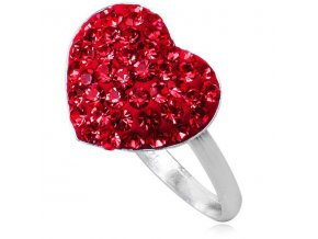 PR4423SWSS swarovski strieborny prsten cervene srdiecko