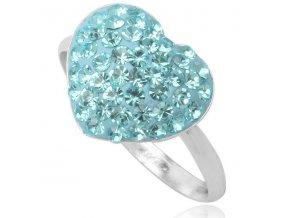 PR4426SWSS strieborny prsten swarovski svetlomodre srdce