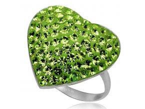 PR4440SWSS zelene srdiecko prsten so swarovski kristalmi