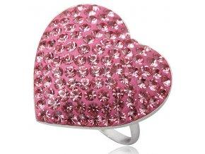 PR4444SWSS strieborny prsten ruzove srdce swarovski