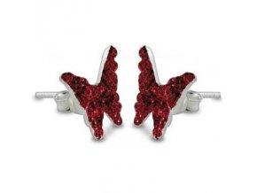 NA9058SWSS swarovski nausnice motyliky cervene