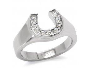 PR6034ZOC - Podkovička - oceľový prsteň so zirkónmi