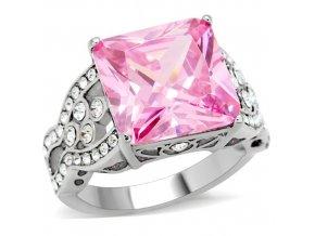 PR6063ZOC ocelovy prsten ruzovy zirkon