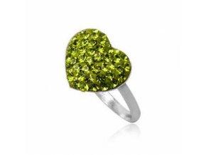 PR4534SWSS Zelené srdce - strieborný prsteň so swarovski krištálmi