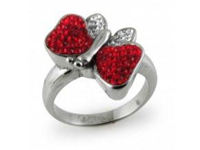 PR6071SWOC - Motýlik - oceľový prsteň so Swarovski krištálmi