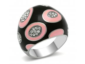 PR6123SWOC - Oceľový prsteň so Swarovski krištálmi