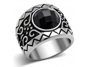 PR6147ZOC - Pánsky oceľový prsteň so zirkónom