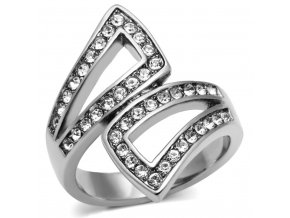 PR6155SWOC - Oceľový prsteň so Swarovski krištálmi