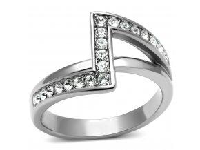 PR6156SWOC - Oceľový prsteň so Swarovski krištálmi