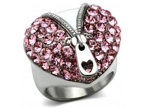 PR6167SWOC - Srdiečko - oceľový prsteň so Swarovski krištálmi