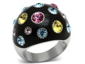 PR6174SWOC - Oceľový prsteň so Swarovski krištálmi