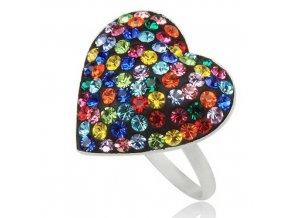 PR4626SWSS - Farebné srdiečko - strieborný prsteň so Swarovski krištálmi