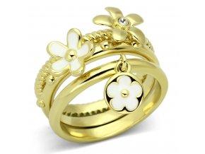 PR6208SWGOC Trojitý prsteň z chirurgickej ocele so Swarovski krištáľom
