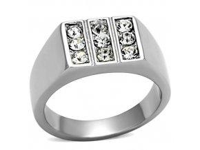PR6216SWOC Pánsky prsteň z chirurgickej ocele so Swarovski krištáľmi
