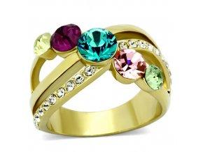 PR6213SWGOC Pozlátený prsteň z chirurgickej ocele s farebnými Swarovski krištáľmi