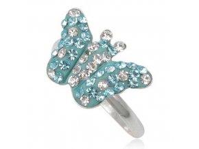 PR4632SWSS - Motýľ - strieborný prsteň so Swarovski krištálmi