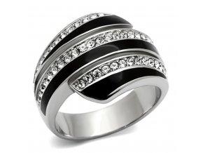 PR6237SWOC Oceľový prsteň so Swarovski krištáľmi