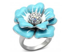 PR6243SWOC Tyrkysový kvet Prsteň z chirurgickej ocele so Swarovski krištáľmi