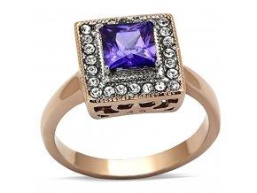 PR6247ZGOC pozlateny prsten ocelovy so zirkonmi