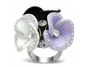 PR6325ZOC - Tri kvietky - exkluzívny prsteň z chirurgickej ocele so zirkónmi
