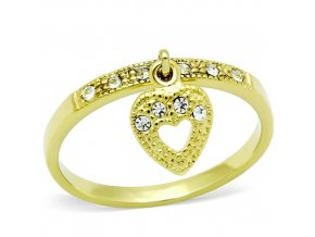 PR6371ZGOC - Srdiečko - prsteň z chirurgickej ocele so zirkónmi