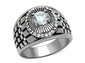 PR6405ZOC - Pánsky prsteň z chirurgickej ocele so zirkónmi