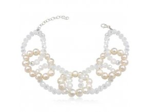 NR1194PSS strieborny naramok perlovy
