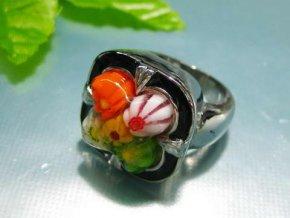 PR1048MSOC - Oceľový prsteň s muránskym sklom