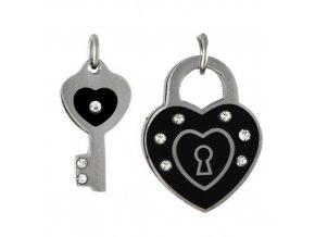 PV3301ZOC klucik srdce ocelove privesky pre zalubenych