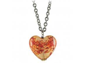 NH3254MSOC oranzove srdce murano ocel nahrdelnik