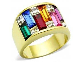 PR8033ZGOC Oceľový prsteň s farebnými zirkónmi