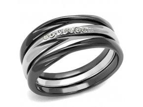 PR8039ZOC Trojitý prsteň z chirurgickej ocele so zirkónmi