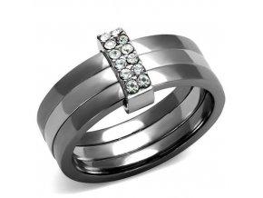 PR8041ZOC Trojitý oceľový prsteň so zirkónmi