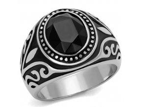 PR6499ZOC Pánsky prsteň z chirurgickej ocele so zirkónmi