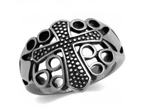PR6503OC Kríž - pánsky oceľový prsteň