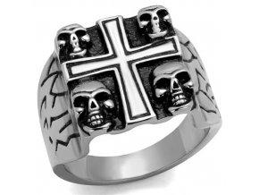PR6504OC Kríž a lebky - pánsky oceľový prsteň