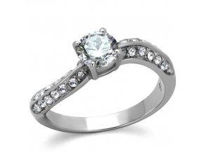 PR8045ZOC Oceľový prsteň so zirkónmi