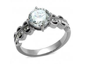 PR8046ZOC Oceľový prsteň so zirkónmi