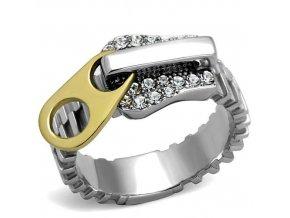 PR8058ZGOC Zips - oceľový prsteň so zirkónmi