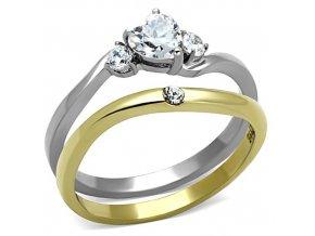 PR8064ZGOC Srdiečko  Dvojitý prsteň z chirurgickej ocele so zirkónmi