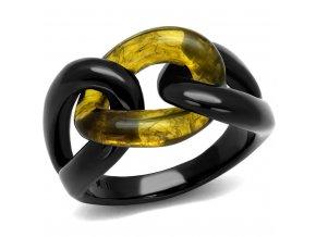 PR8069BOC Čierny oceľový prsteň so syntetickým topázom