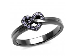 PR8073BZOC Srdiečko Čierny oceľový prsteň so zirkónmi