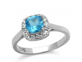 PR8077ZOC Oceľový prsteň s modrým zirkónom